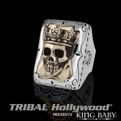 FRAMED ALLOY SKULL RING Sterling Silver Heavy Duty Mens King Baby Ring | Tribal Hollywood