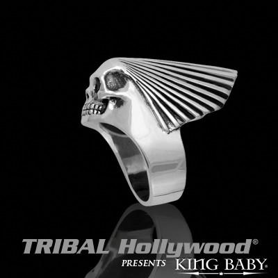 Mens Ring Band SKULL CHIEF RING King Baby Sterling Silver | Tribal Hollywood