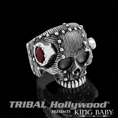 Mens Ring RIVET SKULL King Baby Sterling Silver with Red Garnet Stones | Tribal Hollywood