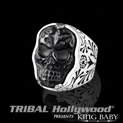 JET SKULL RING DAY OF THE DEAD Black and Silver King Baby Mens Ring | Tribal Hollywood