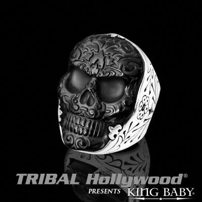 JET BAROQUE SKULL RING Black and Silver King Baby Mens Ring