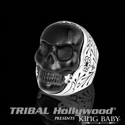 Mens Black and Silver Ring JET CLASSIC SKULL RING by King Baby | Tribal Hollywood