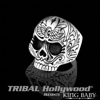 K20-5687 Ring for Men WINGED WHEEL SKULL in Sterling Silver by King Baby | Tribal Hollywood