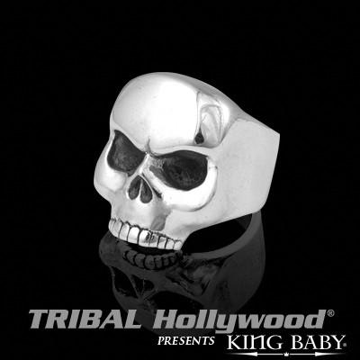 Half Skull Ring Small Silver Mens Ring By King Baby