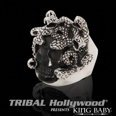 Mens Skull Ring Medusa Black Jet Stone And Silver Ring