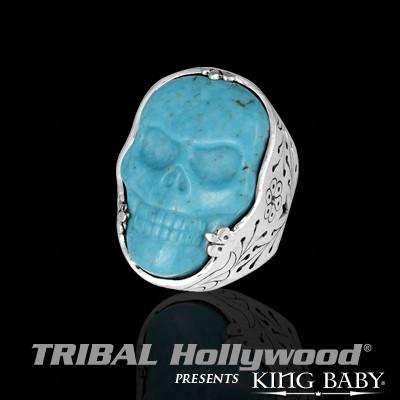 Turquoise Skull Sterling Silver Mens Ring by King Baby