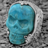 Turquoise Skull Sterling Silver Mens Ring by King Baby Lifestyle Image