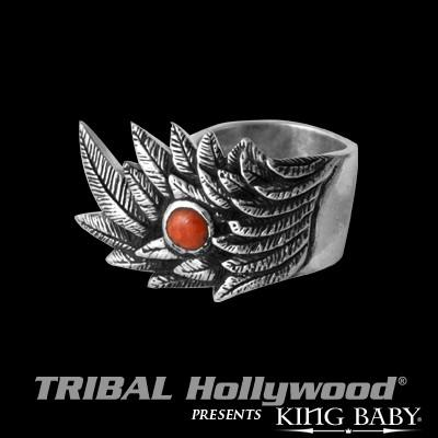 Mens Ring RAVEN WING in Sterling Silver with Red Coral