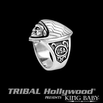 King Baby Indian Motorcycle Hood Ornament Silver Mens Ring