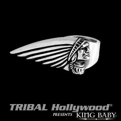 Indian Motorcycle Chief 2 Finger Sterling Ring by King Baby