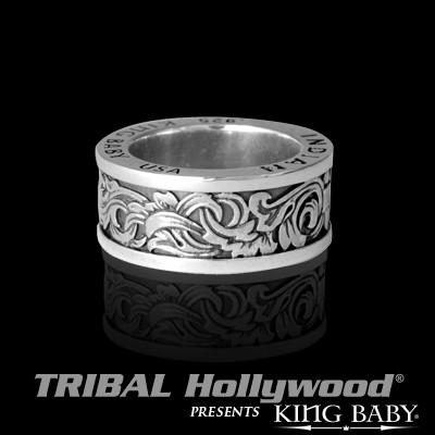 Old West Scroll Engraved Silver Mens Ring by King Baby