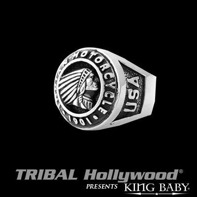 King Baby Indian Motorcycle Logo Sterling Silver Mens Ring