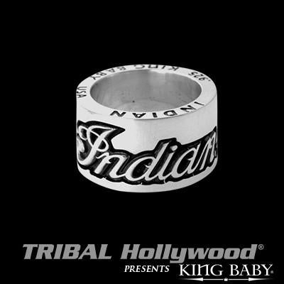 Indian Motorcycle Script Logo Mens Silver Ring by King Baby