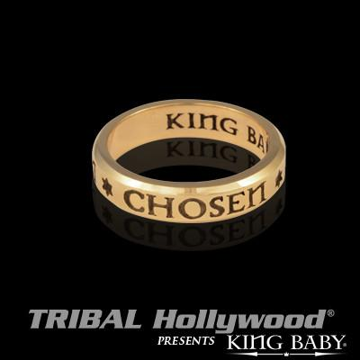 Chosen Gold Stackable Mens Ring Stars of David by King Baby