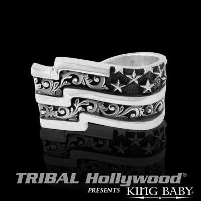 American Flag Two Finger Silver Mens Ring by King Baby