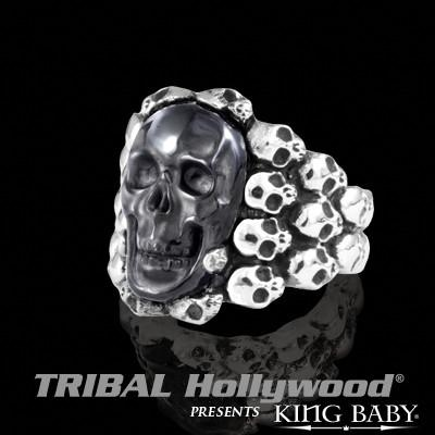 Mens Ring Black OBSIDIAN SKULL RING in Sterling Silver by King Baby | Tribal Hollywood