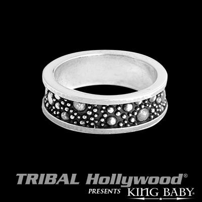 Stingray Texture Oxidized Silver Mens Ring by King Baby