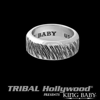 Slashed Band Textured Sterling Silver Mens Ring by King Baby