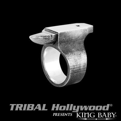 Blacksmith Anvil Sterling Silver Mens Ring by King Baby