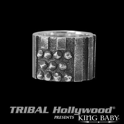Riveted American Flag Oxidized Silver Mens Ring by King Baby