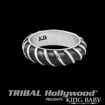 Rebar Dark Bright Silver Stackable Mens Ring by King Baby