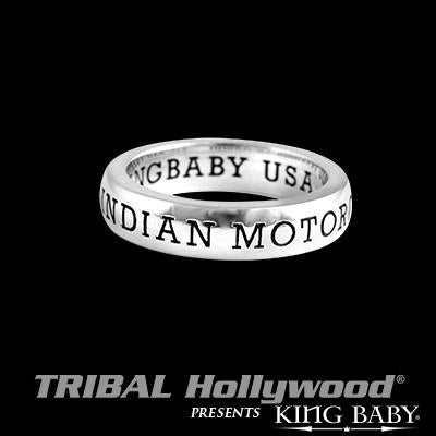 Indian Motorcycle Stackable Silver King Baby Mens Ring