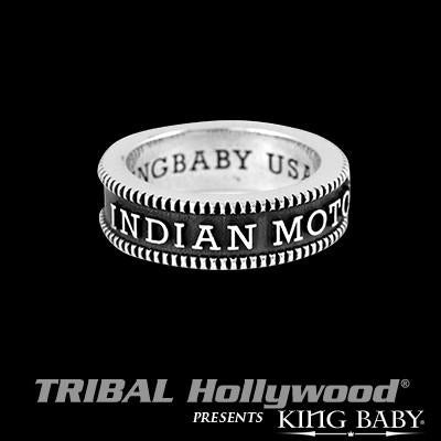 Indian Motorcycle Coin Edge Mens Stackable Ring by King Baby