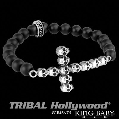 stone stainless onyx steel black oxidized mens skull bead bracelet men solid charm item gothic with titanium