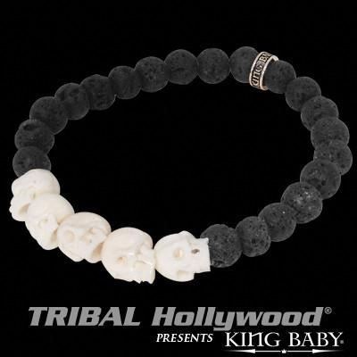K40-5238-LAV Skull Beads Mens Bracelet in White Bone and Black Lava