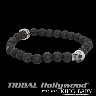 SKULL Bracelet for Men with Lava Beads by King Baby