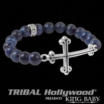 Traditional Cross Dark Blue Tigers Eye Bead Bracelet