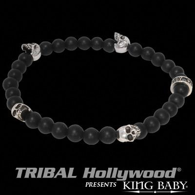 Beaded Skull Mens Bracelet Silver and Onyx By King Baby
