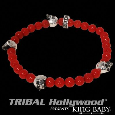Beaded Skull Bracelet for Men in Silver and Red Coral