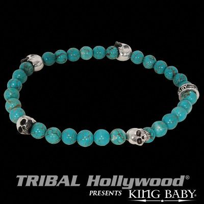 Beaded Skull Bracelet for Men in Silver and Turquoise