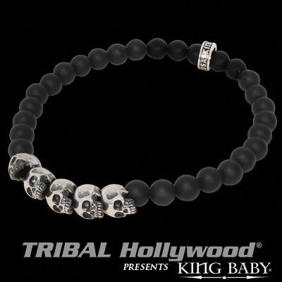 Mens Bead Bracelet Onyx and Silver Skulls by King Baby