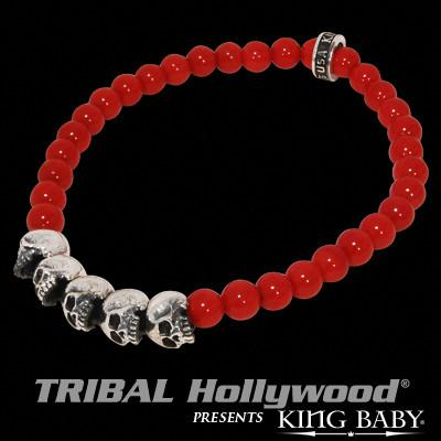 Skull Mens Bracelet Red Coral and Silver by King Baby