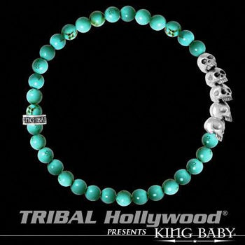 Skull Mens Bracelet Turquoise and Silver by King Baby