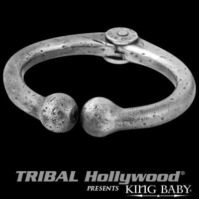 Bull Nose Ring Bracelet Silver Mens Cuff by King Baby