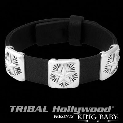 Three Star Conchos Black Mens Leather Bracelet by King Baby