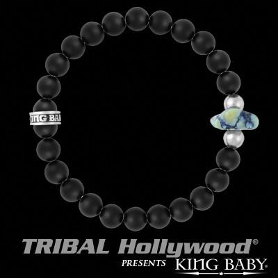 Black Onyx Bead Spotted Turquoise Mens Bracelet by King Baby