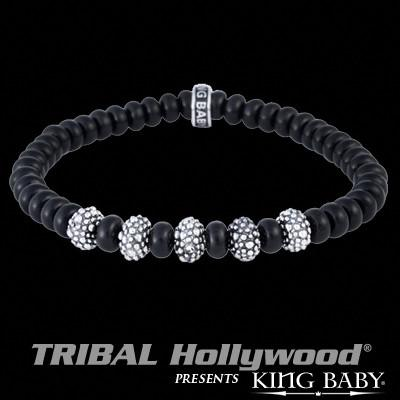 Flat Onyx with Textured Silver Beads Mens Bracelet by King Baby