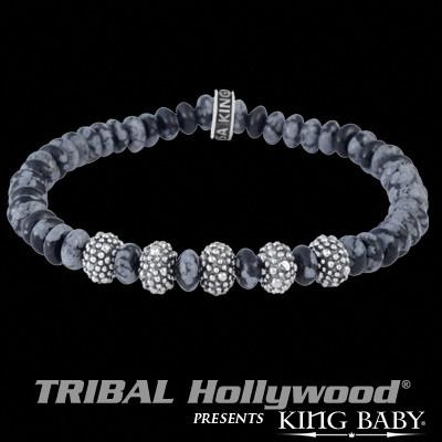 Snowflake Agate Silver Beads Mens Bracelet by King Baby