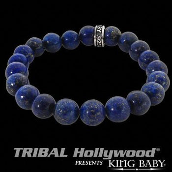 Large Bead Bracelet for Men Blue Lapis by King Baby