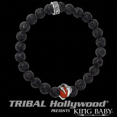 Mens Bracelet CLAW BEAD Black Lava Sterling Silver King Baby
