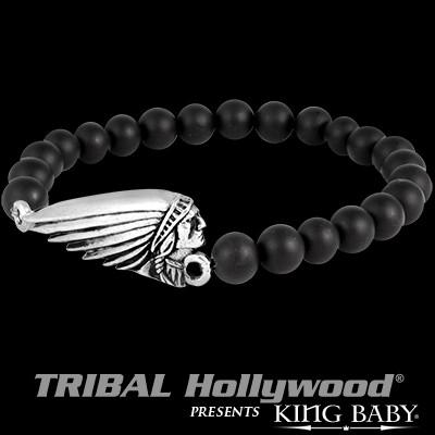King Baby Indian Motorcycle Silver Chief Onyx Bead Bracelet