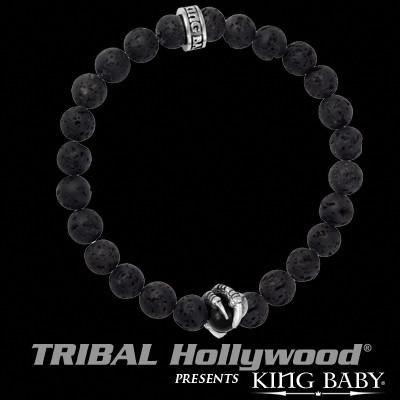 Raven Claw Onyx Bead Black Lava Mens Bracelet by King Baby