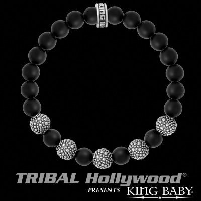 Onyx and Sterling Silver Beads Mens Bracelet By King Baby