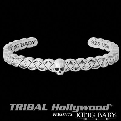 Native Skull Sterling Silver Mens Cuff Bracelet by King Baby