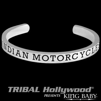 Indian Motorcycle Engraved Name Silver Mens Cuff Bracelet
