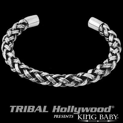 Twisted Silver Woven Sterling Cuff Bracelet by King Baby
